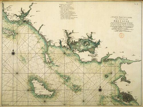 carte marine de bretagne issue du Neptune françois:  morbihan belle ile en mer