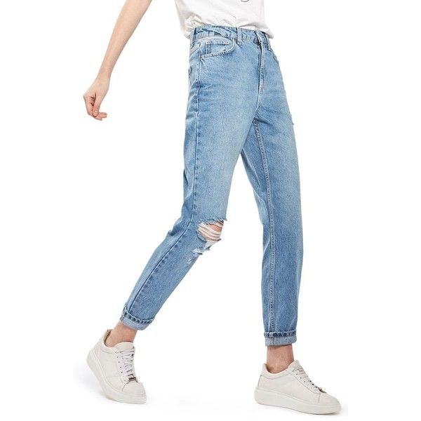Women's Topshop Ripped Mom Jeans ($75) ❤ liked on Polyvore featuring jeans, mid denim, destroyed jeans, white ripped jeans, high-waisted jeans, high waisted ripped jeans and white distressed jeans