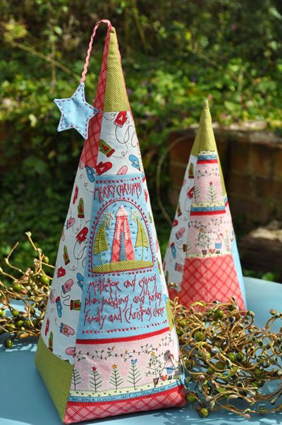 patchwork and embroidery stitched Christmas tree