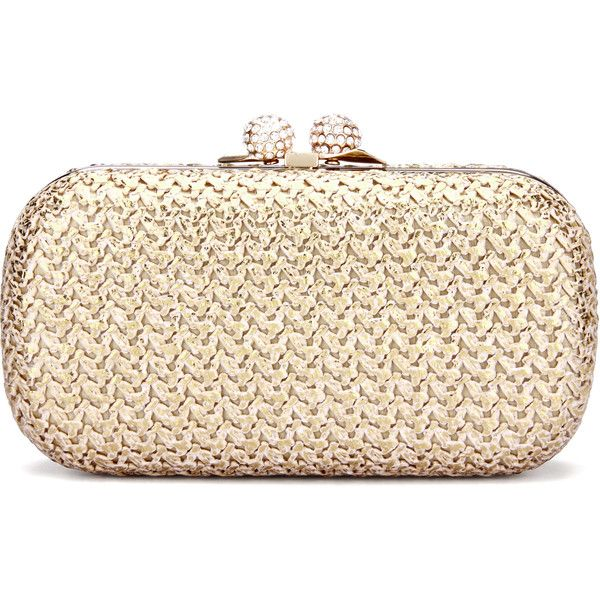 Yoins Knotting Clutch Bag in Gold ($37) ❤ liked on Polyvore featuring bags, handbags, clutches, beige, gold purse, gold handbags, rose gold handbag, gold chain handbags and beige purse