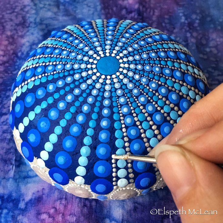 Deep blue mandala painted stone by Elspeth McLean …