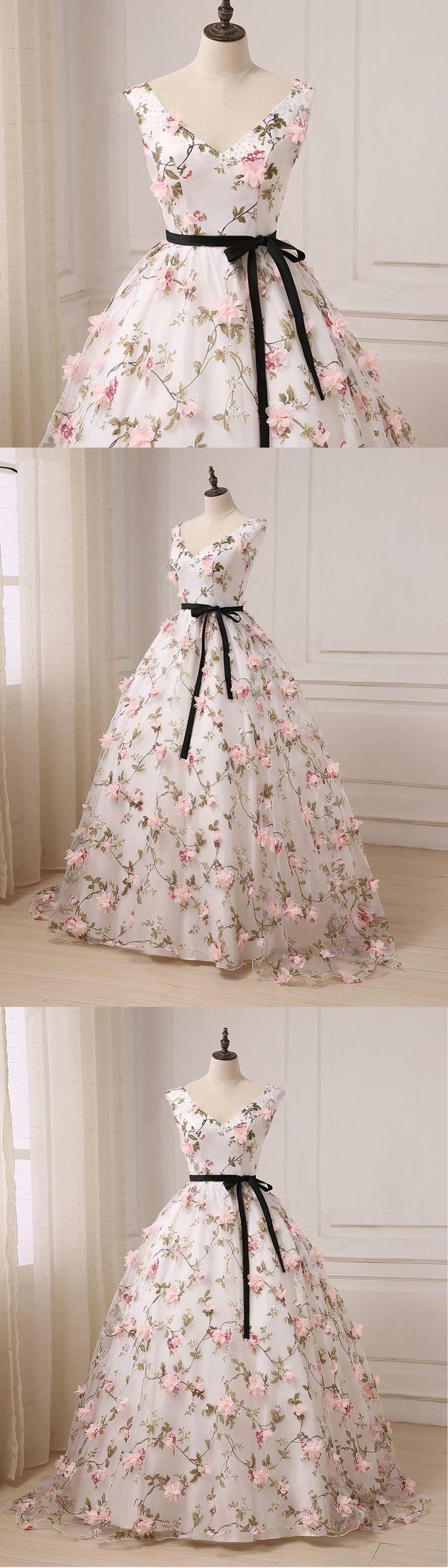 Cute floral print tulle V neck long evening dress, black sash formal prom dress