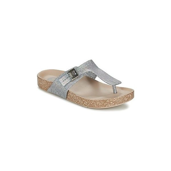 Zaxy FASHION FLAT Flip flops ($38) ❤ liked on Polyvore featuring shoes, sandals, flip flops, silver, flat thong sandals, silver shoes, silver flat sandals, beach flip flops and beach shoes