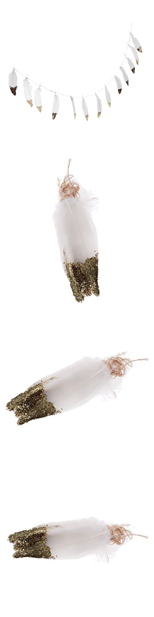 Dovewill Bohemian Style Gold / Silver Dipped Feather Bunting Tassel Garland Nursery Girls Kids Room Dcor - 2, as described