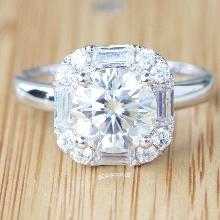 Absolutely Gorgeous 14 К 585 Белое Золото Роскошные 2 Карат кт 8 мм GH Обручальное Свадебный Lab Grown Муассанит Алмаз кольцо
