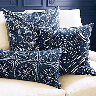 """Camille Mosaic Lumbar Pillow Cover 100% cotton. Screenprinted by hand. Hidden zip closure. Machine wash. Made in India. 14 x 30"""". Insert sold separately.   Also shown: Camille Diamond and Scroll Pillow Covers"""