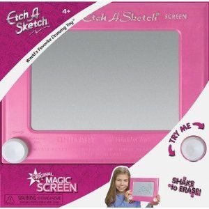 Ohio Art Classic Etch A Sketch Pink by Ohio Art. $15.07. The classically simple Etch-a-Sketch is one of the best-known toys of a generation and remains popular today. Recommended age Range 3 and Up. No batteries, no problem; the classic Etch a Sketch is powered by skill and imagination. Always portable, the 7 1/2 inch screen is perfect for home or on the go. Every child deserves an Etch a Sketch. From the Manufacturer                Remember your Etch a Sketch. This class...