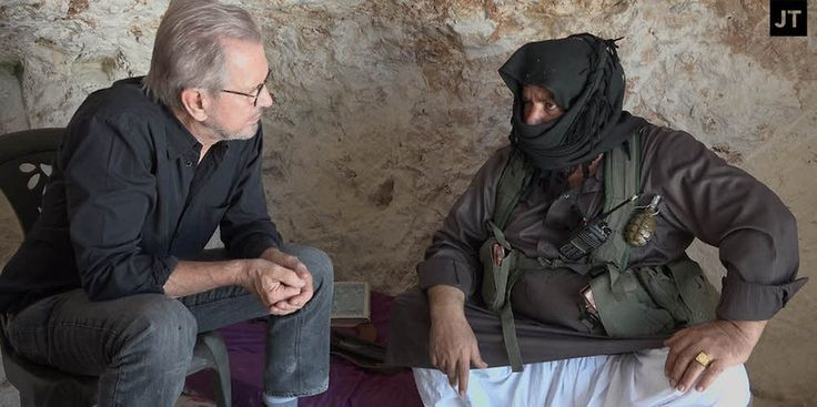 "Jürgen Todenhöfer talking to the commander of the Al-Qaeda branch ""Jabhat Al Nusra"" -"