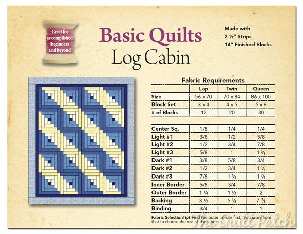 log cabin quilt fabric requirements | Basic Quilts: Log Cabin (Made with 2.5'' Strips)