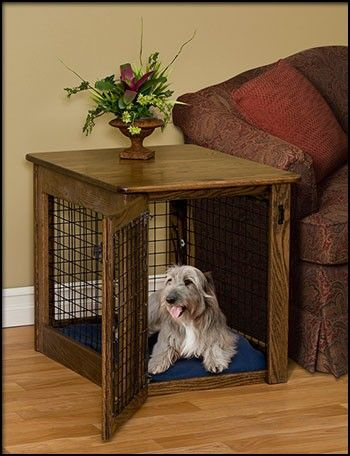 homemade dog crates | ... Woodcraft Amish Oak Wood Chew Proof Dog Crate End Table FREE SHIPPING