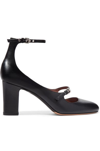 Heel measures approximately 75mm/ 3 inches Black leather Buckle-fastening ankle strap Made in Italy