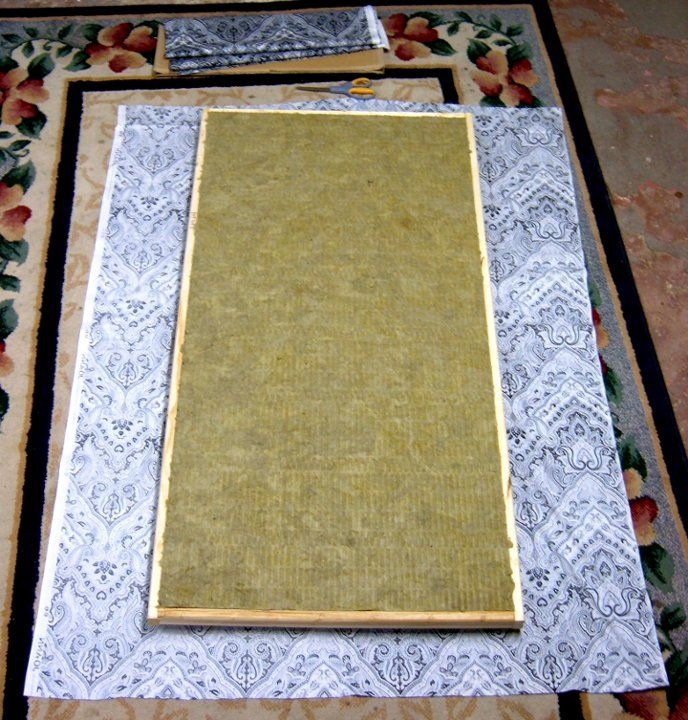 build your own acoustic sound panels Place the panel in the center of the fabric