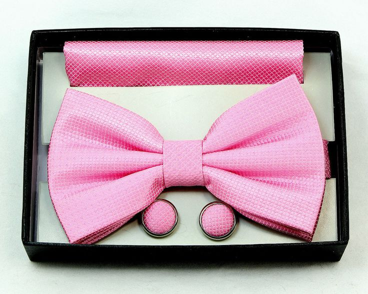 New Bright Pink Mens Tuxedo Wedding Fashion Banded Bow Tie Hanky Cufflinks Set #NewYorkCollections #BowTie