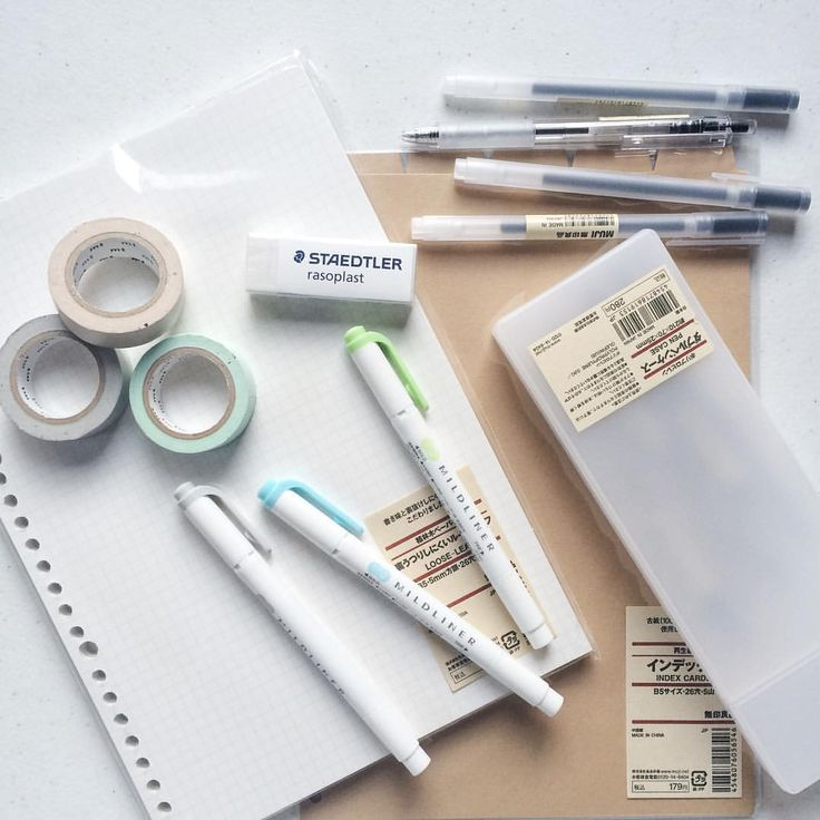 """studie-s: """" favorite stationery [pt 2] most of the stuff in the pic are from muji stuygram @europhias """""""