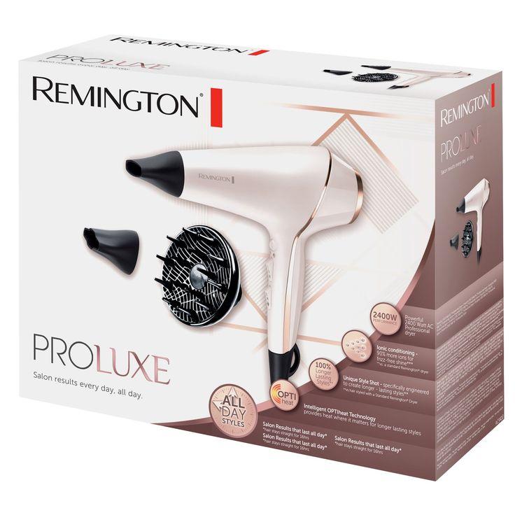 Uscator de par Remington PROluxe AC9140, Ionizare, 2400 W, Motor AC, Tehnologie OPTIheat, Functie PRO+ Style Shot, 3 trepte temperatura, 2 viteze, Jet de aer rece, 2 concentratoare, Difuzor, Alb