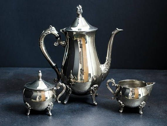Antique Victorian style Silver plate teapot sugar bowl and