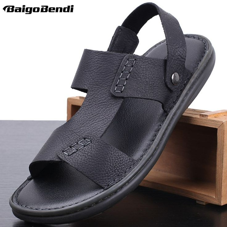 US 6-10 Men's Sandals 2019 New Summer Leisure Beach Slippers for Man Real Leather Slippers