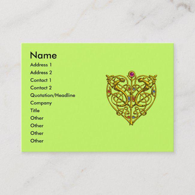 Hyper Valentine Gold Celtic Knot Heart Jewel Green Business Card Zazzle Com Gold Celtic Knot Green Business Celtic Knot