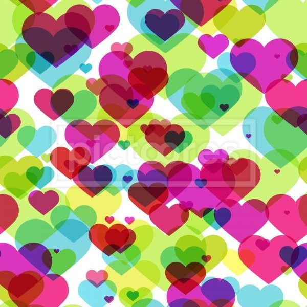 seamless pattern with semi transparent colorful hearts