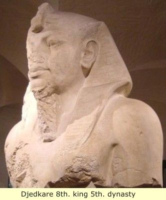 "Djed-ka-ra was the king's throne name, meaning ""Soul of Ra Endureth"", or ""stability is the soul of Ra"". His birth name was Isesi (Asosi). His vizier was Ptahhotep writer of the maxims of Ptahhotep the oldest book in the world."
