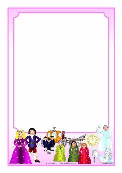Cinderella A4 page borders (SB4173) - SparkleBox