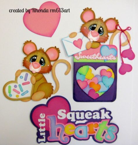 Valentine Mice boy girl paper piecing set premade scrapbook page-Rhonda rm613art