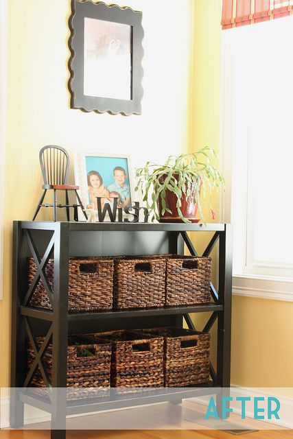 DVD Organization by Willow Handmade, felt on the bottom of baskets to prevent scratching