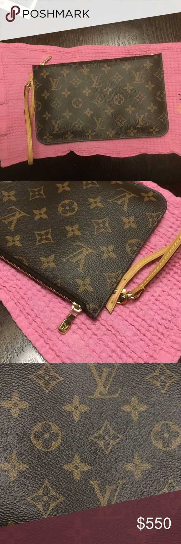 REAL Louis Vuitton pouch❣ NEW Real monogram Louis Vuitton pouch! Truly used ONCE at a wedding. It's like brand new (inside and out), I promise. Really only used that one time. I am a big purse person, who carries too much, so that's why I can't make use of this beautiful item. This is from the neverfull MM tote. It has an inside pocket. It's approximately 10 inches by 6 and a half inches. I have excellent reviews 😊 so you can rest assured. This is authentic and timeless. Fast shipping 📫…