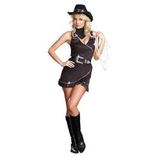 Sexy cowboy jurkje/ kostuum voor dames. Zwart suède cowboy jurkje inclusief riem, sjaal en hoed. Het jurkje is afgewerkt met pailletten. Carnavalskleding 2015 #carnaval