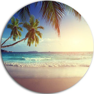 "DesignArt 'Typical Sunset on Seychelles Beach' Photographic Print on Metal Size: 38"" H x 38"" W x 1"" D"