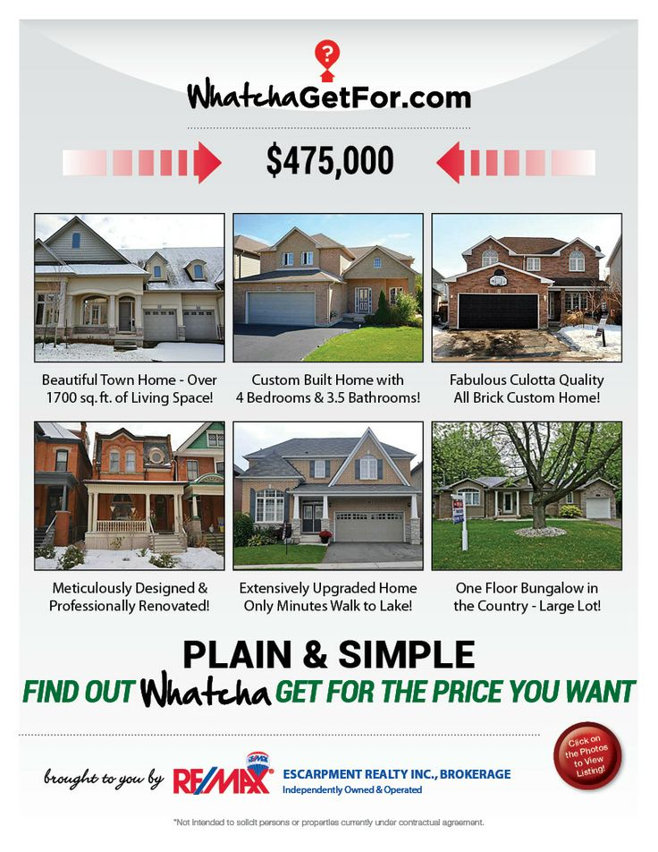 What You Can Get For 475K RE/MAX Escarpment. Click for details on listings.