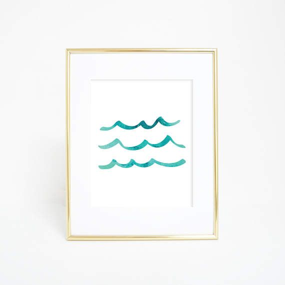 Wave Art Poster Ocean Nursery Print Beach House Decor Aqua