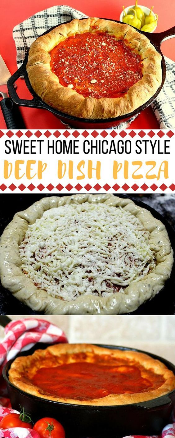Why travel to Chicago for authentic deep dish pizza when you can make it at home?! The pizza crust has so much flavor from the garlic and basil and the homemade sauce really shines through. ""