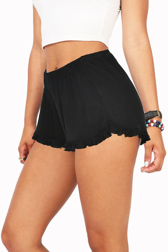 """Ultra light shorts for lounging around with a ruffled trim with a stretchy elastic waist. Soft and comfortable fabric. *Hand Wash Cold *100% Rayon *10""""/26cm Top to Bottom 2.5""""/5cm Inseam - measured on"""