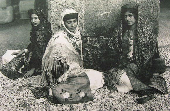 Archive photo of young Kastellorizian women in traditional costumes…