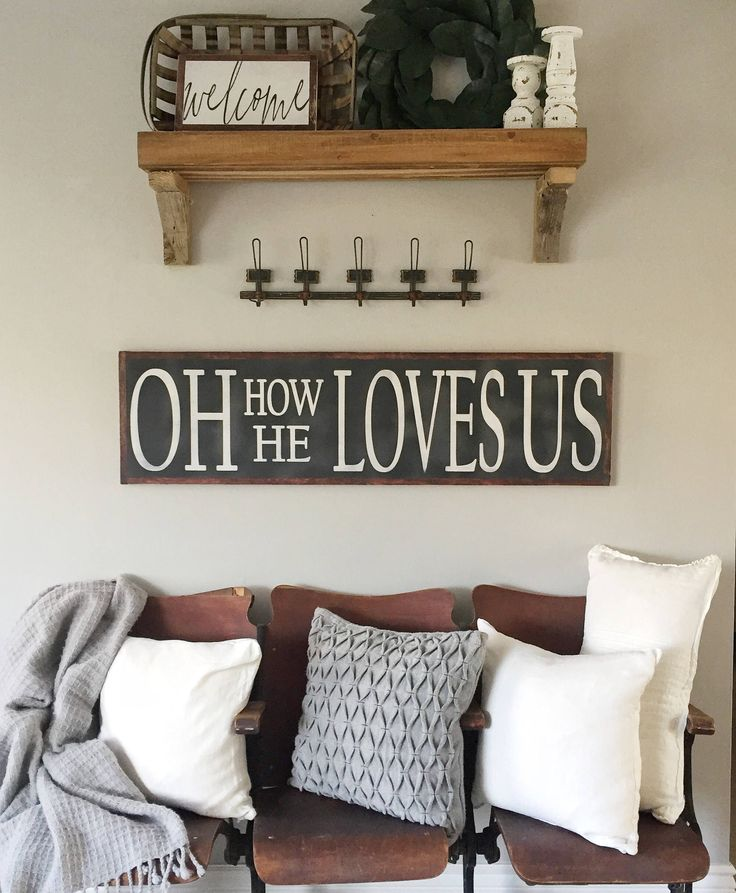 Oh How He Loves Us- Oh How He Loves Us Sign- Religious Sign- Christian Wall Art- Large Wood Sign- Distressed Sign- Long Wood Sign by hoosierfarmhouse1 on Etsy https://www.etsy.com/listing/576555396/oh-how-he-loves-us-oh-how-he-loves-us