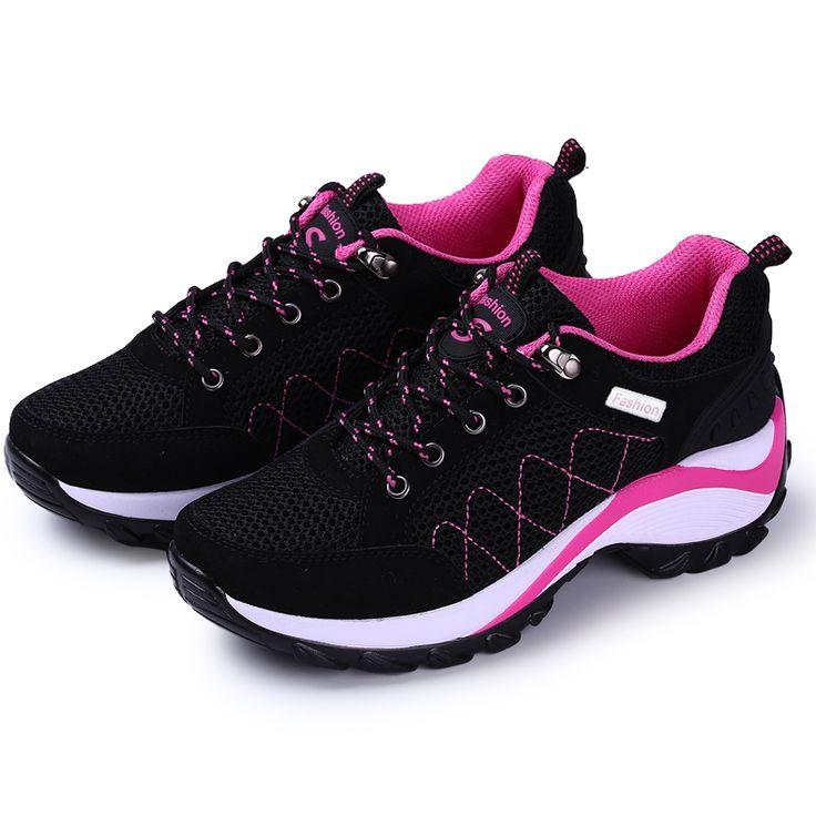 Runing Zapatos Para Las Mujeres 2016 de Primavera/Verano Para Caminar Zapatillas Gris/Rojo Precio Bajo Corriendo Zapatos Para Caminar Al Aire Libre deporte Cómodo