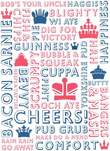 First rate artwork, celebrating British food and colloquialisms in equal measures. How many do you recognise?