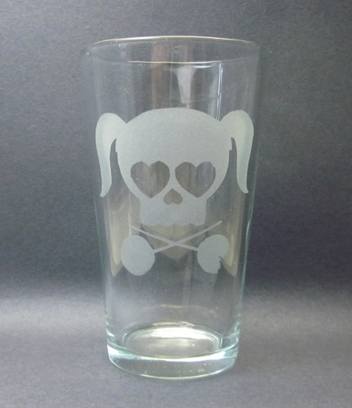 Lollipop Chainsaw Inspired Etched Glass by ZombieGiftsandStuff, $10.99
