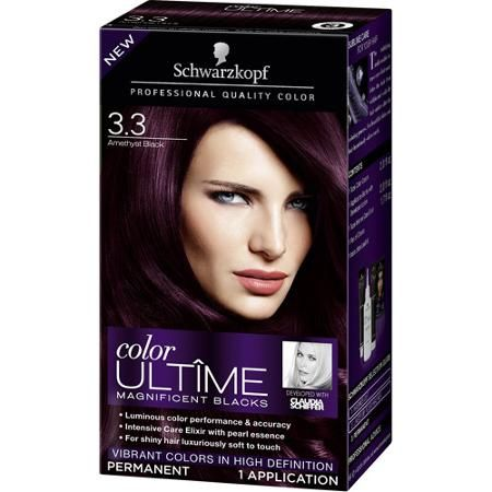 Schwarzkopf Color Ultime Magnificent Blacks Hair Coloring Kit, 3.3 Amethyst Black