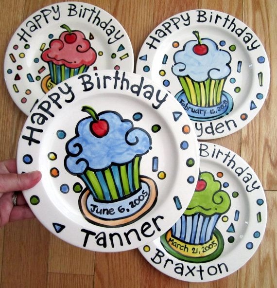 KILN FIRED Happy Birthday cherry cupcake plate personalized and handmade by artzfolk.