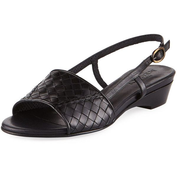 Sesto Meucci Ginger Woven Leather Slingback Sandal (1,125 SAR) ❤ liked on Polyvore featuring shoes, sandals, black, sesto meucci sandals, black slingbacks, black slingback sandals, black open toe shoes and slingback sandals