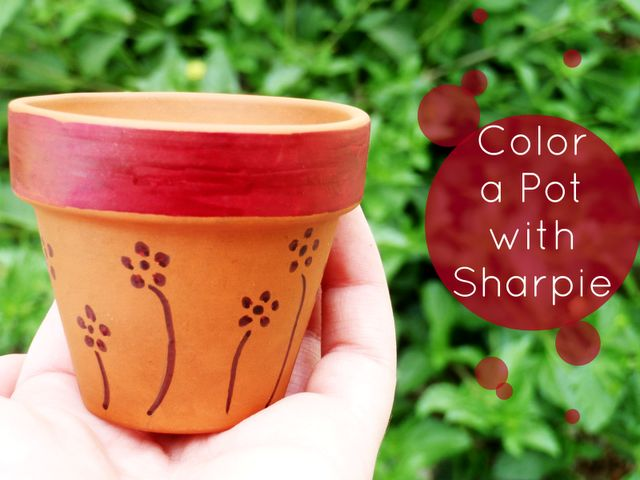 #springintothedream  Front Porch Inspiration: Color a Pot with Sharpie. So why am I knee deep in paints and brushes and sandpaper as I decorate my terracotta pots?