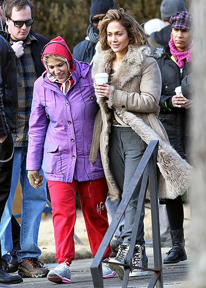 Jennifer Lopez got an on-set visit from her mom, Guadalupe, as she shot new flick Lila and Eve in Atlanta January 21 2014.