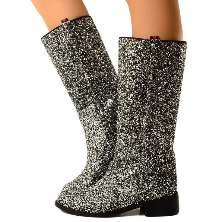 Stivali Donna Camperos in Glitter Boots Western Vintage Grigio