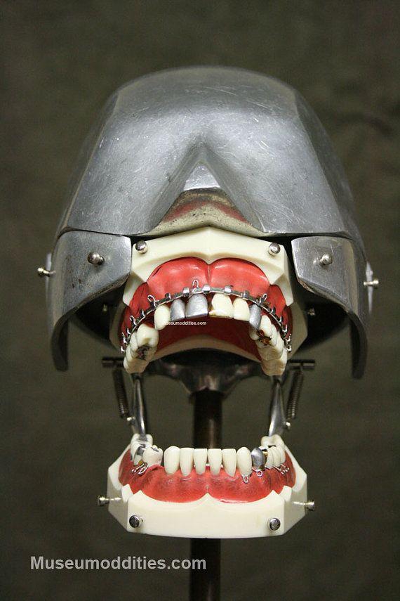 Steampunk Skull Industrial Art Dental Medical Columbia Dentoform Oddities Real Gold Teeth