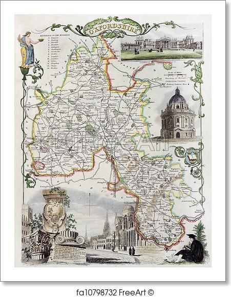 Oxfordshire map - Artwork  - Art Print from FreeArt.com