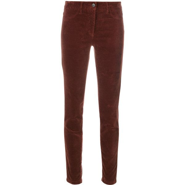 Luisa Cerano velvet slim-fit trousers (182.830 CLP) ❤ liked on Polyvore featuring pants, red, velvet trousers, brown slim pants, slim fit pants, red slim fit pants and slim fitted pants