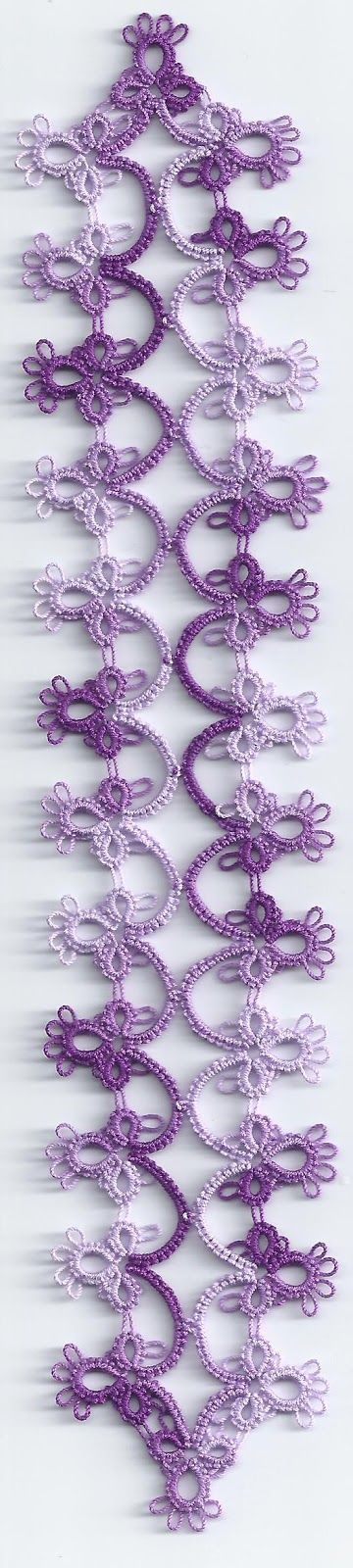 Hanky edging turned into a fancy elegant bookmark.   It's tatted in size 40 Lizbeth Purple Iris Fusion.   Oh, it's about 8 3/4 inches long.  Tatting Lace in Grace.