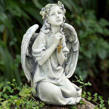 Heavenly Angel With Cross Sitting